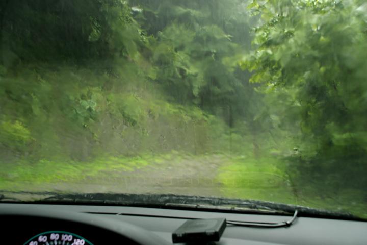 どしゃぶりの雨