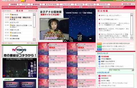 テレビ東京Webサイト(花火中)